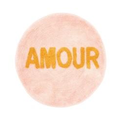 Tappeto rotondo rosa con scritta dorata