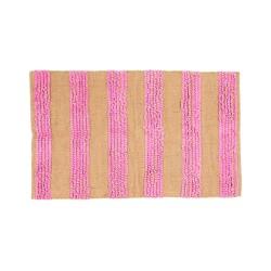 Tappeto rettangolare con strisce rosa