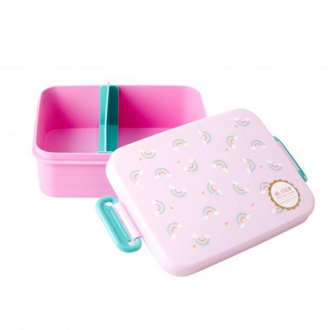 Lunchbox rosa con divisore fantasia arcobaleni