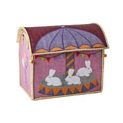 Casetta portagiochi in rafia con coniglietti