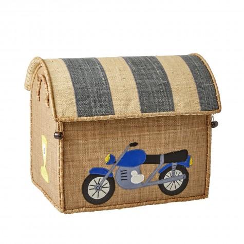Casetta portagiochi in rafia con motorino