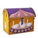 Casetta portagiochi in rafia con cigni