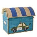 Casetta portagiochi in rafia con macchina