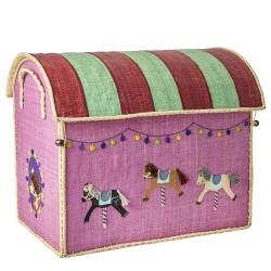 Casetta portagiochi in rafia con cavallini