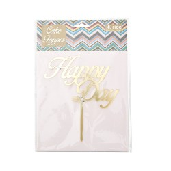 Decorazioni per dolci, topper oro HAPPY DAY