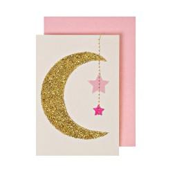 Biglietto per nascita bambina con luna e stelle