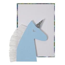 Biglietto di auguri, unicorno azzurro
