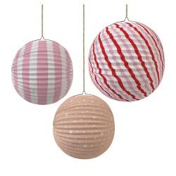 Decorazioni per soffitto, globi di carta rosa