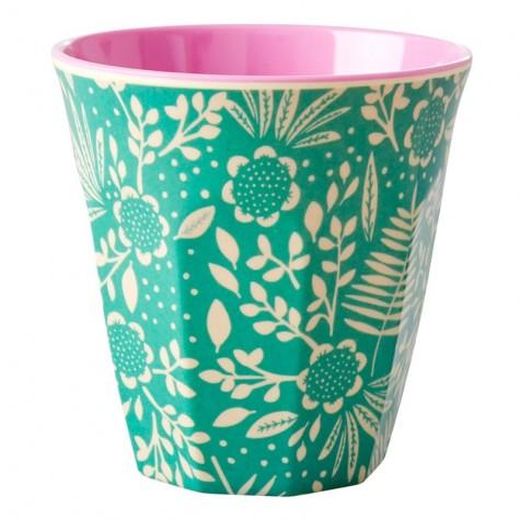Bicchiere in melamina con fantasia fiori turchesi