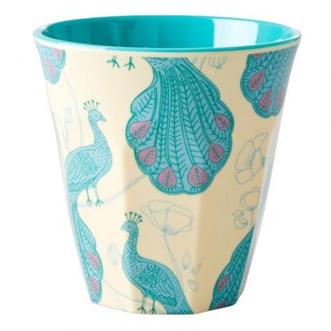 Bicchiere in melamina con fantasia pavoni