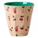Bicchiere in melamina con fantasia cocktails e ciliegie