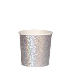 Bicchieri di carta color argento scintillante