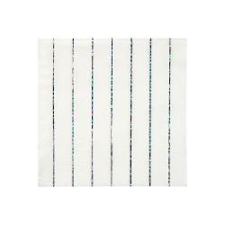 Tovagliolini di carta a righe argento scintillante