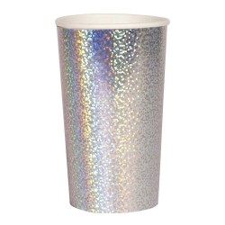 Bicchieri alti di carta color argento scintillante