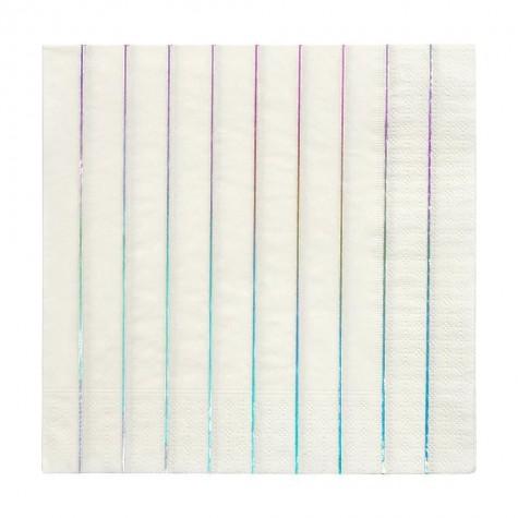 Tovaglioli di carta a righe argento olografico
