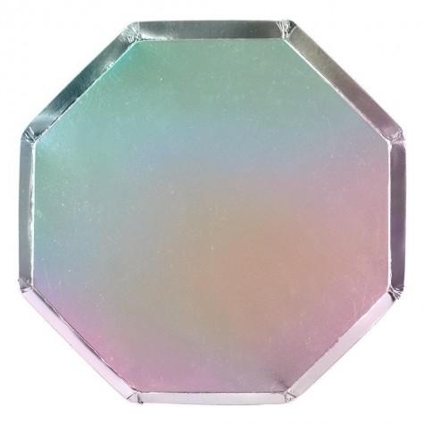 Piatti di carta color argento olografico