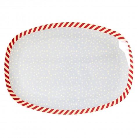 Piatto ovale con fantasia fiocchi di neve