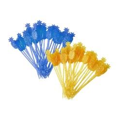 Bastoncini decorativi a forma di ananas blu e giallo