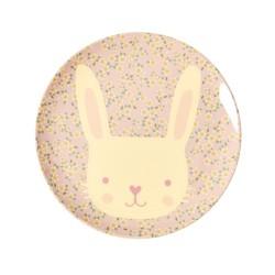 Piatto piano rosa con fantasia coniglietto