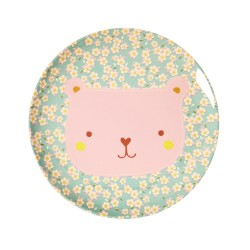 Piatto piano bimbo con fantasia orsetto rosa