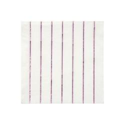 Tovagliolini di carta a righe rosa metallizzato