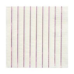 Tovaglioli di carta a righe rosa metallizzato