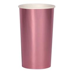Bicchieri alti di carta color rosa metallizzato