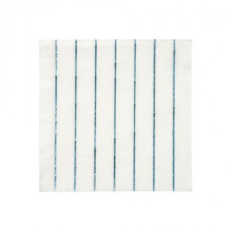 Tovagliolini di carta a righe blu olografico
