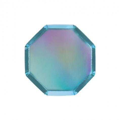 Piattini da cocktail di carta color blu olografico