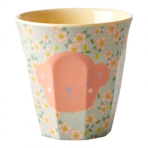 Bicchiere piccolo in melamina fantasia scimmietta rosa