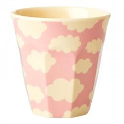 Bicchiere in melamina rosa con fantasia nuvolette
