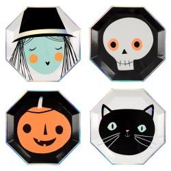 Piatti di carta con personaggi di Halloween