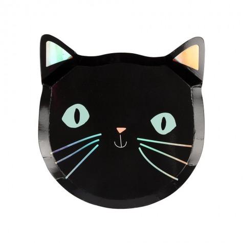 Piatti di carta a forma di gatto nero