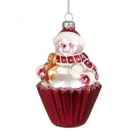 Decorazione natalizia - cupcake pupazzo di neve