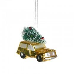 Decorazione natalizia - macchinina gialla con albero