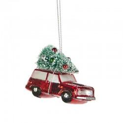 Decorazione natalizia - macchinina rossa con albero