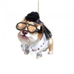 Decorazione natalizia - bulldog con gli occhiali