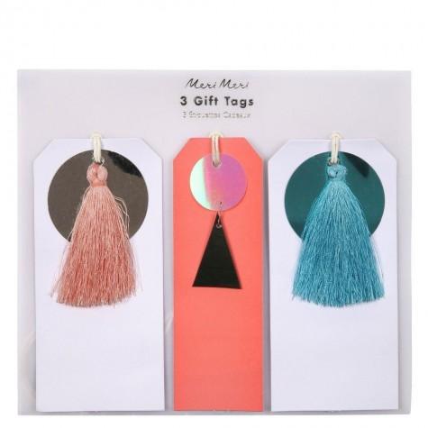 Etichette segnapacchi con paillettes e nappe