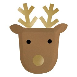 Piatti di carta natalizi a forma di renna