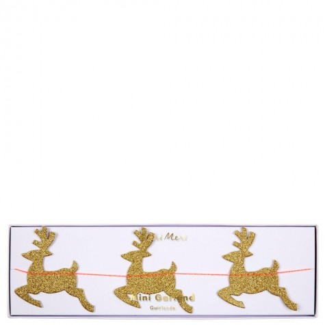 Mini ghirlanda natalizia con renne glitter