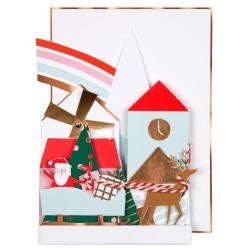 Biglietto di auguri villaggio di Natale pop up