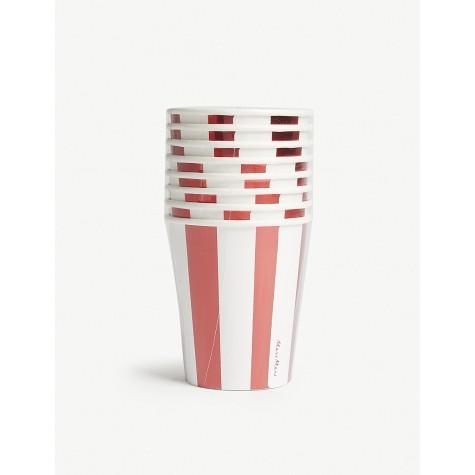 Bicchieri di carta a righe rosse