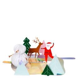 Biglietto di auguri Babbo Natale pattinatore