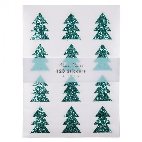 Stickers natalizi glitter a forma di albero