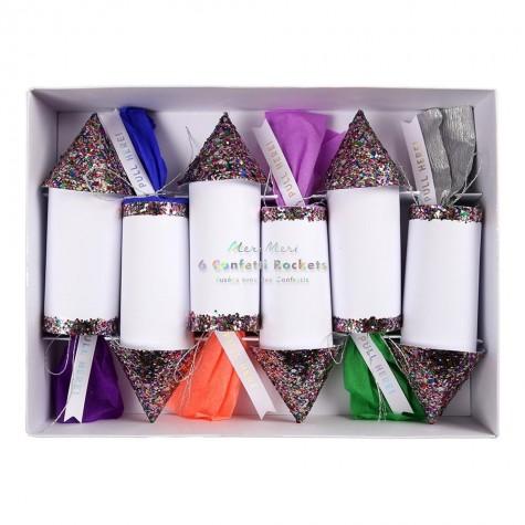 Razzi con coriandoli arcobaleno glitter