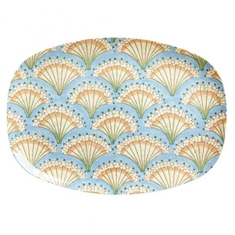 Piatto ovale con fantasia ventaglio fiorito