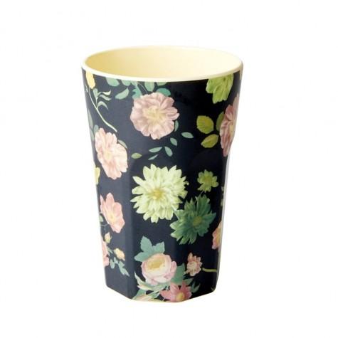 Bicchierone latte con fantasia fiori colorati