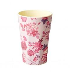 Bicchierone latte con fantasia fiori rosa