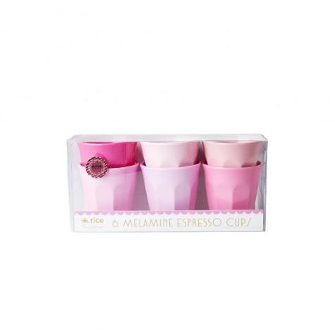 """Set 6 bicchierini da caffè """"50 sfumature di rosa"""""""