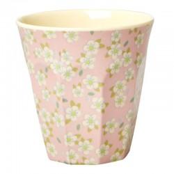 Bicchiere in melamina rosa chiaro con fantasia fiorellini